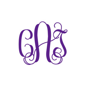3 Inch Interlocking Monogram Vinyl Decal