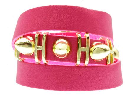 Bullet Stud Leather Bracelet - Pink