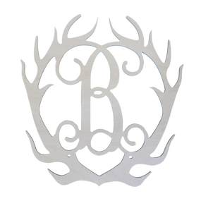 Single Initial Wood-MDF-Antlers