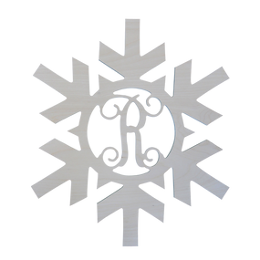 Single Initial Wood Snowflake