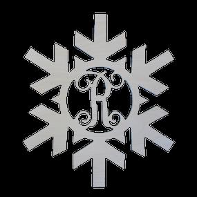 Single Initial Wood Snowflake