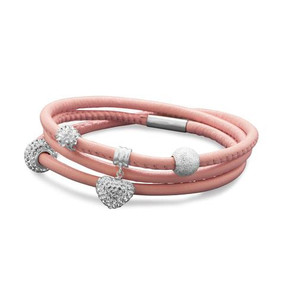 Triple Wrap Blushing Pink Leather Bracelet