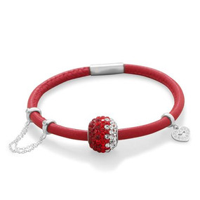 Single Wrap Candy Apple Red Leather Bracelet