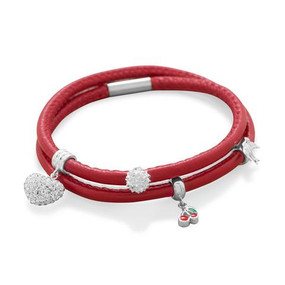 Double Wrap Candy Apple Red Leather Bracelet
