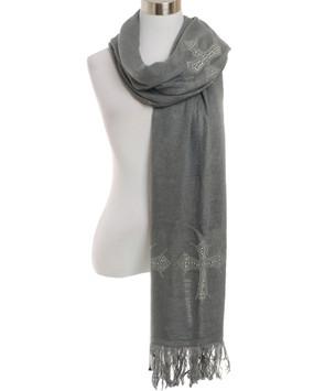 Cross Oversize Scarf-gray