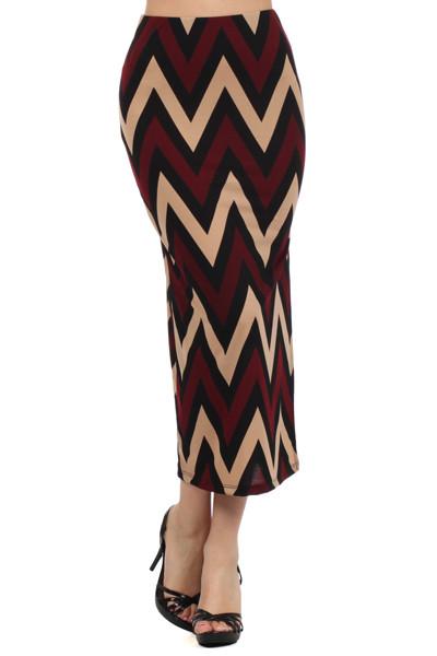 Chevron Print Maxi Skirt with Side Slit - Burgundy