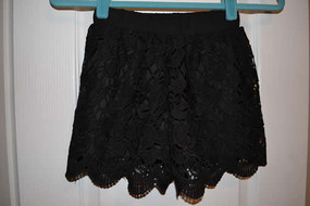 Chic Style Hook Flower Hollow Out Black Shorts