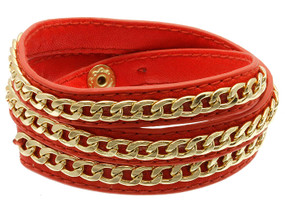 Clip Leather Bracelet - Red
