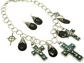 Cross and Bead Necklace and Earring Set