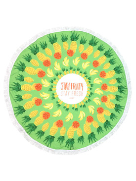 TROPICAL FRUIT MESSAGE PRINT  ROUND BEACH TOWEL MAT