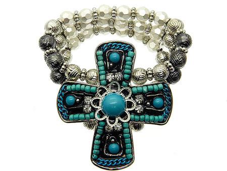 Cross Micro Bead Stretch Bracelet - Turquoise
