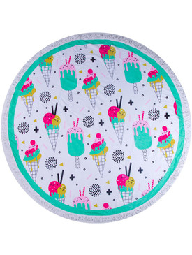 ICE CREAM PRINT  ROUND BEACH TOWEL MAT