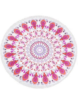 PAISLEY PATTERN  ROUND BEACH TOWEL MAT-RED MULTI-COLOR