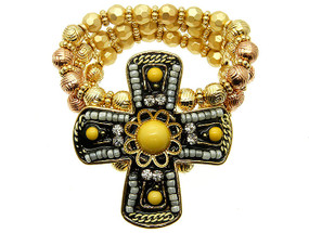 Cross Micro Bead Stretch Bracelet - Yellow