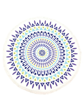DOILY PATTERN  ROUND BEACH TOWEL MAT-BLUE AND YELLOW