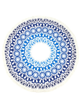 DOILY PATTERN  ROUND BEACH TOWEL MAT-BLUE MULTI COLOR