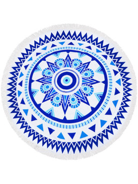 DOILY PATTERN  ROUND BEACH TOWEL MAT-ROYAL BLUE