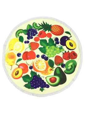 SUMMER FRUIT PRINT  ROUND BEACH TOWEL MAT
