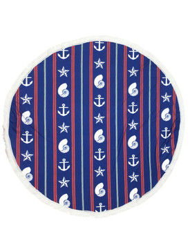 SEALIFE AND SHELLS PRINT  ROUND BEACH TOWEL MAT