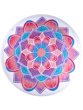 MANDALA FLORAL PRINT  ROUND BEACH TOWEL MAT-BLUE AND PINK
