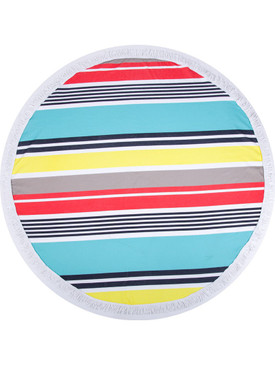 STRIPE PRINT  ROUND BEACH TOWEL MAT