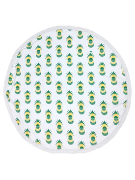 PINEAPPLE PATTERN  ROUND BEACH TOWEL MAT-WHITE