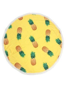 PINEAPPLE PATTERN  ROUND BEACH TOWEL MAT-YELLOW