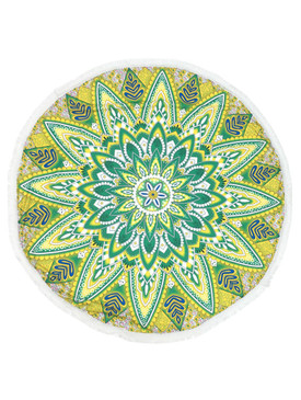 MANDALA FLORAL PRINT  ROUND BEACH TOWEL MAT-GREEN AND YELLOW