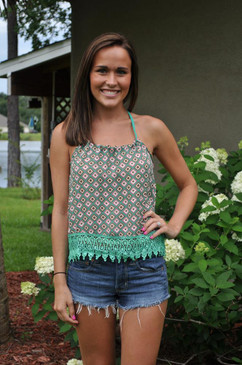 Diamond Monogram Print Tank with Crochet Lace on Hem