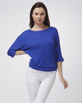 Dolman Long Sleeve Baby Hacci Top - Royal Blue