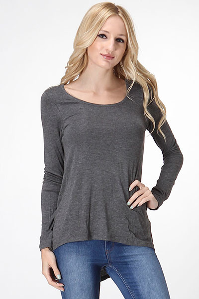 Dolman Long Sleeve Drop Shoulder Top - Dark Grey