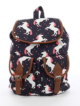 BAG ACCESSORY / UNICORN PRINT / TRAVEL BACKPACK / MAGNETIC CLOSURE / TWO FRONT POCKETS / INTERIOR ZIPPER POCKET / ONE SIZE / 13 INCH WIDE / 15 INCH TALL / 6 INCH DEEP / ADJUSTABLE SHOULDER STRAP / NICKEL AND LEAD COMPLIANT