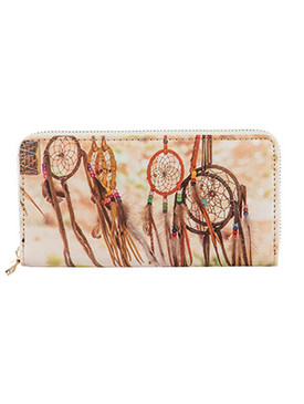 BAG ACCESSORY / DREAMCATCHER PRINT / VINYL CLUTCH WALLET / ZIPPER / COIN POCKET / CASH POCKET / CREDIT CARD POCKET / ONE SIZE / 8 INCH WIDE / 4 INCH TALL / NICKEL AND LEAD COMPLIANT