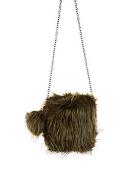 BAG ACCESSORY / FAUX FUR / CROSSBODY / ZIPPER CLOSURE / INTERIOR SLIP POCKET / CROSSBODY / REMOVABLE CHAIN STRAP / REMOVABLE POMPOM KEYCHAIN / 100% ACRYLIC / 8 INCH WIDE / 8 INCH TALL / ONE SIZE / NICKEL AND LEAD COMPLIANT