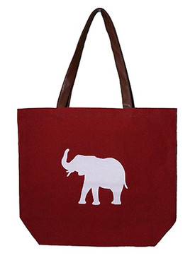 BAG ACCESSORY / ELEPHANT PRINT / CANVAS COTTON TOTE / INTERIOR SLIP POCKET / WATER RESISTANCE LINING / FAUX LEATHER STRAP / ONE SIZE / 17 INCH WIDE / 15 INCH TALL / 6 INCH DEEP / 10 INCH HANDLE DROP / NICKEL AND LEAD COMPLIANT