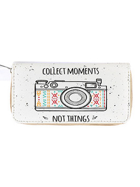 BAG ACCESSORY / CAMERA PRINT / FAUX LEATHER CLUTCH WALLET / MESSAGE / COLLECT MOMENTS NOT THINGS / ZIPPER / COIN POCKET / CASH POCKET / CREDIT CARD POCKET / ONE SIZE / 8 INCH WIDE / 4 INCH TALL / NICKEL AND LEAD COMPLIANT