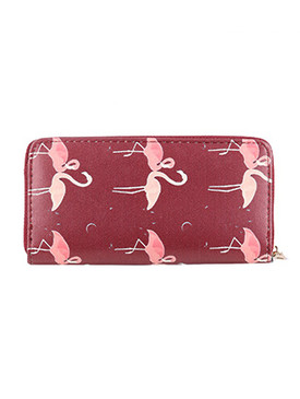 BAG ACCESSORY / PINK FLAMINGO PRINT / FAUX LEATHER CLUTCH WALLET / ZIPPER / COIN POCKET / CASH POCKET / CREDIT CARD POCKET / ONE SIZE / 8 INCH WIDE / 4 INCH TALL / NICKEL AND LEAD COMPLIANT