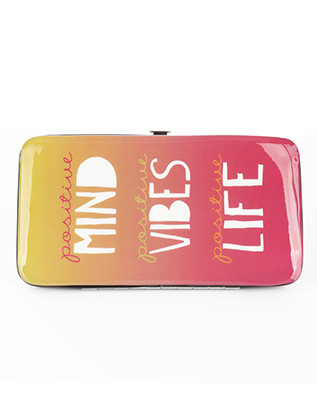 BAG ACCESSORY / MESSAGE PRINT / VINYL FLAT WALLET / POSITIVE MIND / POSITIVE VIBES / POSITIVE LIFE / CLUTCH / PHONE POCKET / CASH POCKET / CREDIT CARD POCKET / SNAP CLOSURE / ONE SIZE / 7 INCH WIDE / 4 INCH TALL / NICKEL AND LEAD COMPLIANT