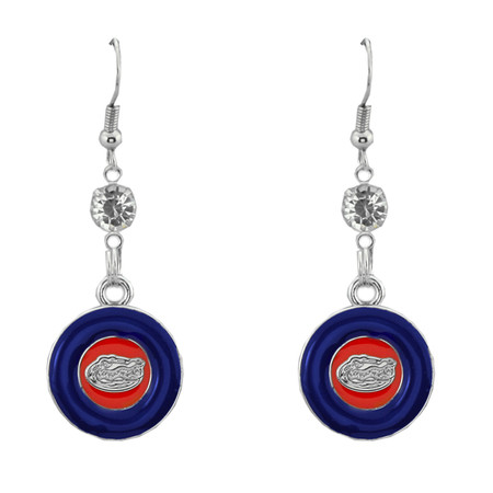Florida Gators Dangle Earrings- Rhinestone Disk