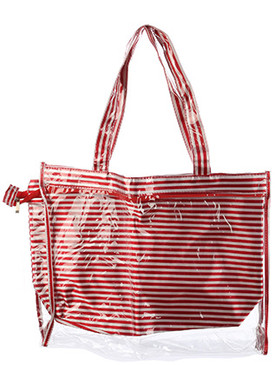 BAG ACCESSORY / 2 PC / JELLY TOTE / STRIPE PRINT / POUCH / ZIPPER CLOSURE / 17 INCH WIDE / 14 INCH TALL / 4 INCH DEEP / 10 INCH HANDLE DROP / ONE SIZE / NICKEL AND LEAD COMPLIANT
