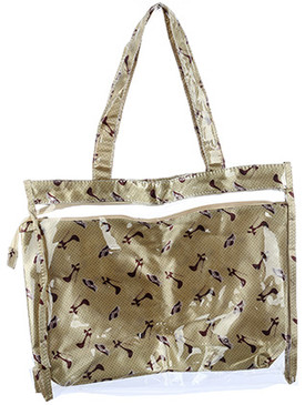 BAG ACCESSORY / 2 PC / JELLY TOTE / FASHION PRINT / POUCH / ZIPPER CLOSURE / 17 INCH WIDE / 14 INCH TALL / 4 INCH DEEP / 10 INCH HANDLE DROP / ONE SIZE / NICKEL AND LEAD COMPLIANT