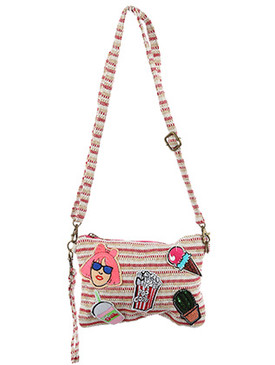 BAG ACCESSORY / PATCHED WOVEN FABRIC / PURSE / GIRL / SHAKE / POPCORN / ICE CREAM CONE / SEQUIN CACTUS / ZIPPER CLOSURE / INSIDE ZIP POCKET / REMOVABLE WRIST STRAP / REMOVABLE ADJUSTABLE SHOULDER STRAP / ONE SIZE / 8 1/2 INCH WIDE / 6 INCH TALL / NICKEL AND LEAD COMPLIANT