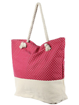 BAG ACCESSORY / POLKADOT PRINT / JUMBO BEACH TOTE / ZIP CLOSURE / INTERIOR SLIP POCKET / INNER LINING / CANVAS COTTON FEEL / ONE SIZE / 23 INCH WIDE / 15 INCH TALL / 6 INCH DEEP / 7 INCH HANDLE DROP / 100 ACRYLIC / NICKEL AND LEAD COMPLIANT