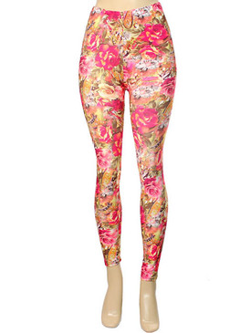 Flower Print Leggings - Pink