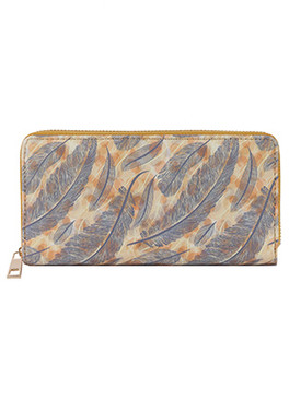 BAG ACCESSORY / FEATHER PRINT / VINYL CLUTCH WALLET / PINEAPPLE / ZIPPER / COIN POCKET / CASH POCKET / CREDIT CARD POCKET / ONE SIZE / 8 INCH WIDE / 4 INCH TALL / NICKEL AND LEAD COMPLIANT