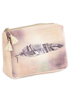 BAG ACCESSORY / FEATHER PRINT / VINYL POUCH WALLET / ZIPPER / TASSEL CHARM / ONE SIZE / 7 INCH WIDE / 5 INCH TALL / 2 INCH DEEP / NICKEL AND LEAD COMPLIANT