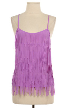 Fringe Woven Top - Lilac