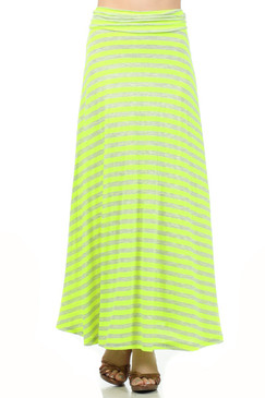 Full Length Striped Skirt - Neon Green