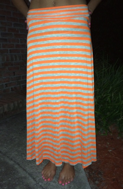 Full Length Striped Skirt - Orange