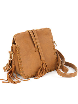 BAG ACCESSORY / FAUX LEATHER / HANDBAG / TASSEL / THREE SECTION / MAGNETIC CLOSURE / INTERIOR SLIP POCKET / REMOVABLE AND ADJUSTABLE STRAP / ONE SIZE / 7 INCH WIDE / 6 INCH TALL / 3 INCH DEEP / NICKEL AND LEAD COMPLIANT